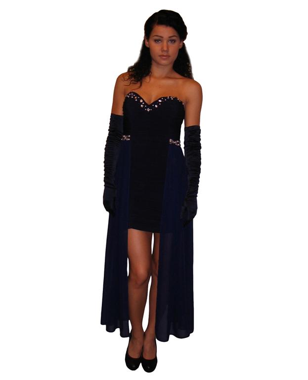 Suknia wieczorowa krótka w kolorze granatowym