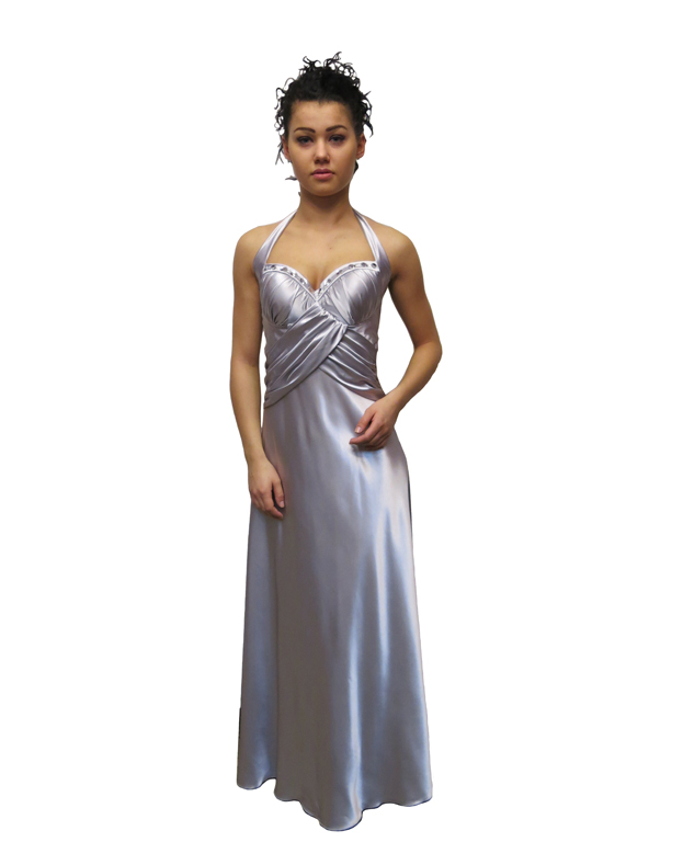 Suknia wizytowa z atłasu srebrnego